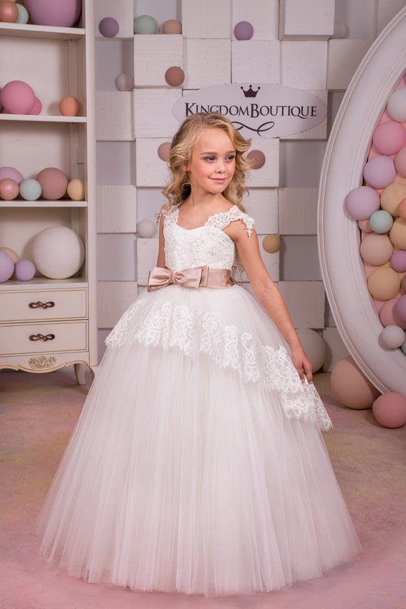 Party Holiday Bridesmaid Ivory Lace Tulle Flower Girl Dress