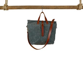Outland Duffle Bag - Charcoal Gray, Canvas Duffle, Weekend Bag, Canvas and leather duffle, luggage, men's bag, women's bag