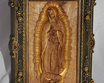Our Lady of Guadalupe Wood carving catholic  icon Virgin Mary FREE SHIPPING