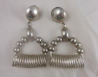 Vintage Silver Modernist Bold Funky  Hoop Dangle Earrings