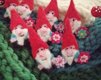 Gnome Brooch Needle Felted Jewellery. The Twinklenoggin