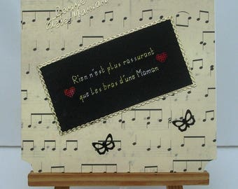 Card good party MOM hand embroidered music Notes
