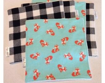 Organic cloth wipes, baby washcloths, organic bamboo, buffalo plaid washcloth, flannel baby wipe, organic cloth wipe, fox baby