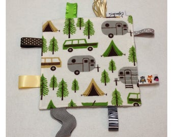 Camping tag toy, crinkle sensory tag toy, baby tag toy, baby crinkle paper, camping baby toy, airstream baby