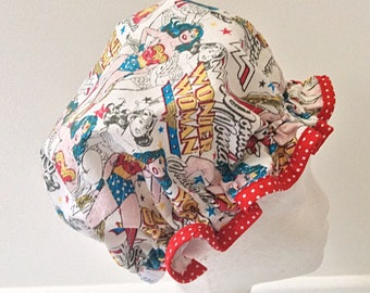 Wonder Woman fabric shower cap / bath hat, waterproof. Ladies gift, woman's gift, bath gift,