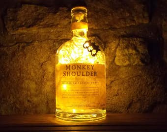 Upcycled Monkey Shoulder whiskey bottle LED lamp - ideal for home, office, bar, man cave ... ANYWHERE