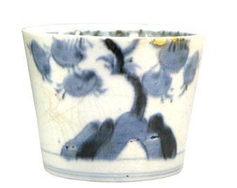 soba choko sometsuke white blue porcelain Kintsugi tea cup ceremony bowl gold Urushi