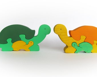 Valentines Day Gift, Wooden Animal Puzzle, Tortoise Puzzle, Tortoise Family, Children's Puzzle, Wooden Game, Organic Toddler Toys, Waldorf