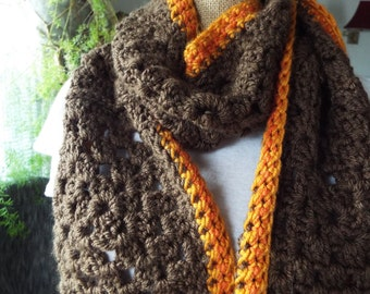 Handmade Crochet Granny Square Scarf