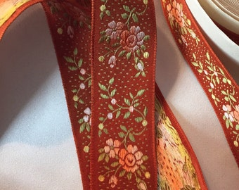 Vintage Jacquard, Vintage French Ribbon, Vintage Brocade Ribbon, French Brocade, Floral Brocade, Vintage Rayon Brocade, French Rayon Ribbon