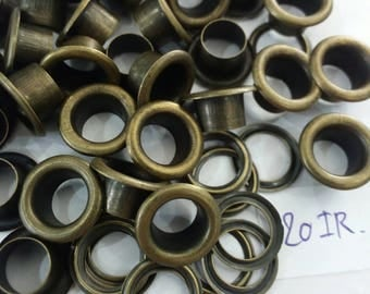 100 sets, 6.3 mm. Hole, Metal Eyelets Grommets with Washers, Antique Bronze Metal Eyelets.