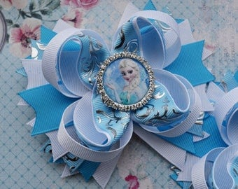 Easter bow easter hair bows easter gifts for kids easter hair gift for girlfriend frozen birthday gift for her frozen hair bow elsa hair clip frozen party negle Images