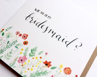Will you be my bridesmaid? greeting card, typography, watercolour, floral, wedding