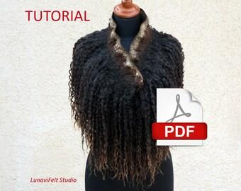 Wet felting tutorial- Felted locks collar- Neck warmer- How to felt wool curls- Making merino and raw wool fleece scarf- PDF e-book pattern