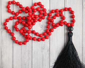 Red necklace for mom / Romantic red necklace / Long Red coral necklace / Coral mala necklace / long boho chic necklace / red necklace