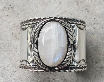 Rainbow Moonstone and Sterling Silver Cuff