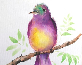 Bird painting Original watercolor painting of bird Art Original painting bird on branch painting Bird picture Acrylic art Tropical bird