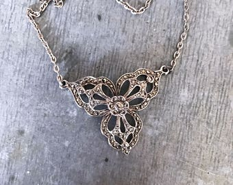 Marcasite necklace, vintage marcasite necklace, vintage necklace, Art Deco necklace, marcasite, vintage bridal, silver necklace