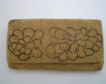 Gold Evening Bag, Vintage Evening Bag, Gold Beaded Clutch, Beaded Evening Bag, Gold Formal Clutch, Gold Beaded Purse, Gold Bead Clutch