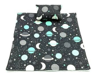 Gray/white/blue solar system/planets/space/stars blanket and pillow fur reptile/beardie/bearded dragon/small pet/animal