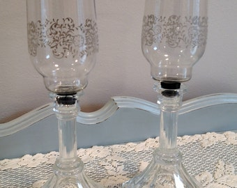 Etched Glass Candle Holders - One Set