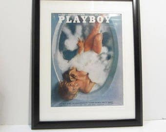 Vintage Playboy Magazine Cover Matted Framed : April 1971 - Simone Hammerstrand