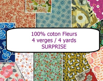 """LIQUIDATION, Flower Surprise,  Designer Cotton, total of 4 yards of cotton, pieces varying from 19 """"X 44"""" to 35 """"X 44"""""""