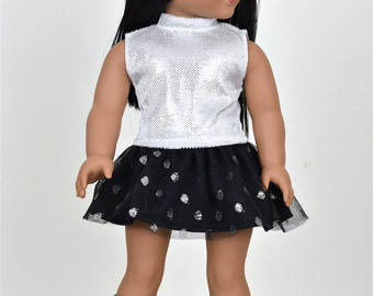 Sparkly silver top WITHOUT   Sleeves 18 inch doll clothes