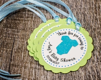 Custom Babyshower Favor tags, onesie favor tags, babyshower thank you tags