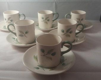 Wedgwood Woodbury Set of Six Coffee Cups with Saucers
