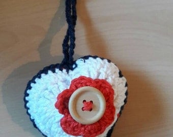 Heart shaped cotton crochet keychain - keyring - luggage tag