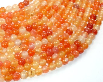Carnelian Beads, Orange, 6mm (6.2mm) Round Beads, 14.5 Inch, Full strand, Approx 62 beads, Hole 1mm (182054028)