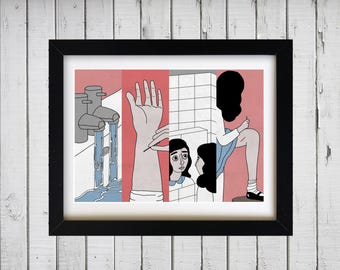 The Bell Jar | Sylvia Plath | Bath Scene - Self Harm | Illustration | Art Print | A4