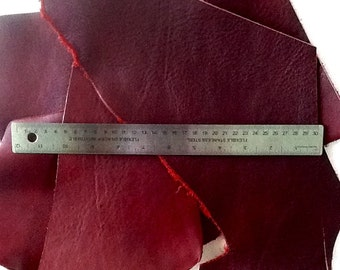 Leather Scraps Pieces Burgundy Wine Red