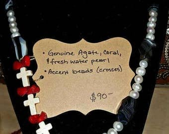 Agate, Pearl, Coral Necklace