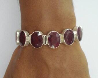 vintage sterling silver bracelet cuff ruby colour gemstone bracelet
