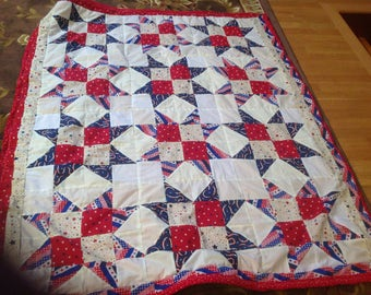 Red white and blue stars quilted throw