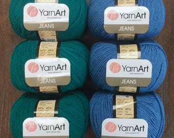 Yarn Art JEANS 4.99 + .99ea to Ship - 174 Yds Cotton Acrylic Washable Sport Weight Yarn - Teal 63, Blue Denim 16. Soft, Bouncy and Durable.