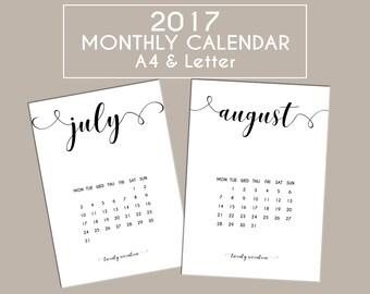 2017 Monthly Calendar A4 & Letter Printable Planner Pages, Wall Calendar, Desk Calendar