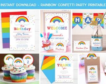 RAINBOW INVITATIONS, Instant download Rainbow Printable, Rainbow Party, Printable Party Package, Rainbow Printable, Rainbow 1st Birthday