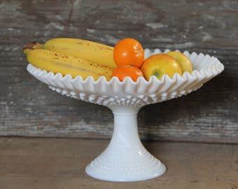 Hobnail milk glass pedestal bowl, milk glass fruit bowl, mik glass bowl