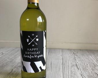 Happy 30th birthday wine label
