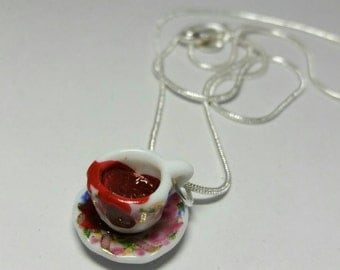 Cup of blood necklace. Horror necklace. Gothic necklace. Blood necklace.