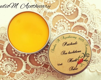 Sea Buckthorn Salve, Hand Salve,Patchouli oil,Herbal Infusion Salve,Natural Hand Balm,Natural Hand Cream,Cuticle and Nail Balm,Dry skin care