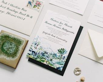 Chicago Wedding Invitation Suite No. 6: Thalia Hall, Scabiosa, Olive Branch, Watercolor Insert Cards