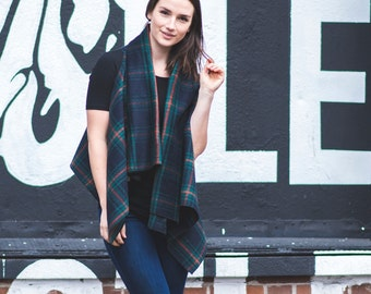 Trinity Vest in Black Plaid