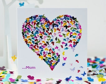 Mum Birthday card, Special Mum Card, Mum Heart Card, Mum Butterfly Card, Mothers day card, Mum Thank You card, Love Mum Card