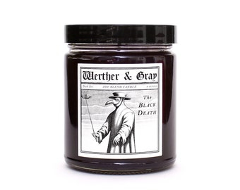 THE BLACK DEATH, Scented Candle, Plague Doctor, Gothic Candle, Medieval Decor, Bubonic Plague, History Themed, Halloween Candles, Historical