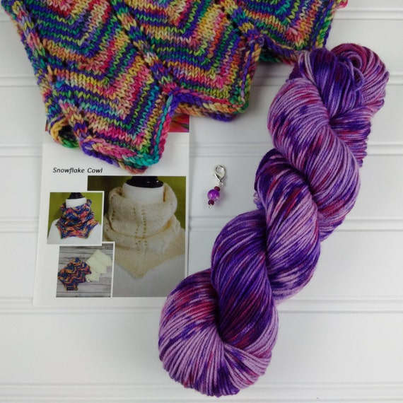 Knitting Kit, DIY Cowl Scarf Kit, Hand Dyed Yarn, knitting pattern with hand ...