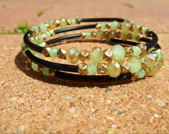 Memory wire wrap bracelet in mint green and gold